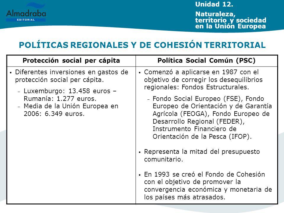POLÍTICAS REGIONALES Y DE COHESIÓN TERRITORIAL Unidad 12. Naturaleza, territorio y sociedad en la Unión Europea Protección social per cápitaPolítica S