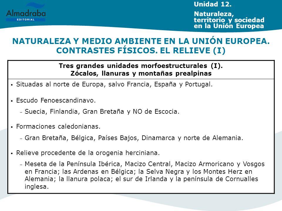 NATURALEZA Y MEDIO AMBIENTE EN LA UNIÓN EUROPEA. CONTRASTES FÍSICOS. EL RELIEVE (I) Tres grandes unidades morfoestructurales (I). Zócalos, llanuras y