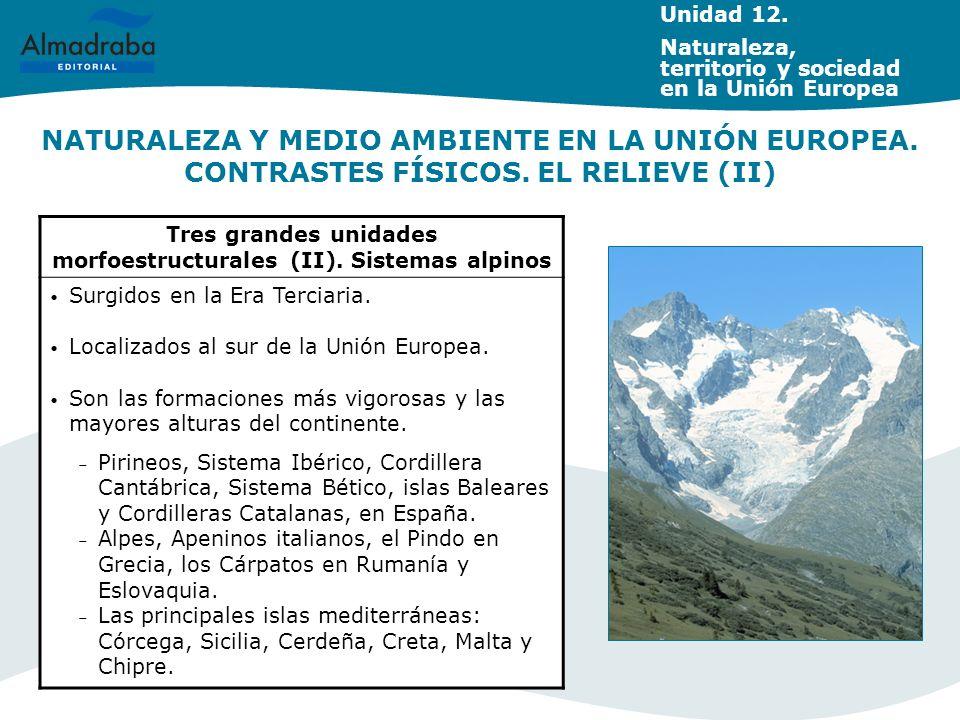 Tres grandes unidades morfoestructurales (II). Sistemas alpinos Surgidos en la Era Terciaria. Localizados al sur de la Unión Europea. Son las formacio