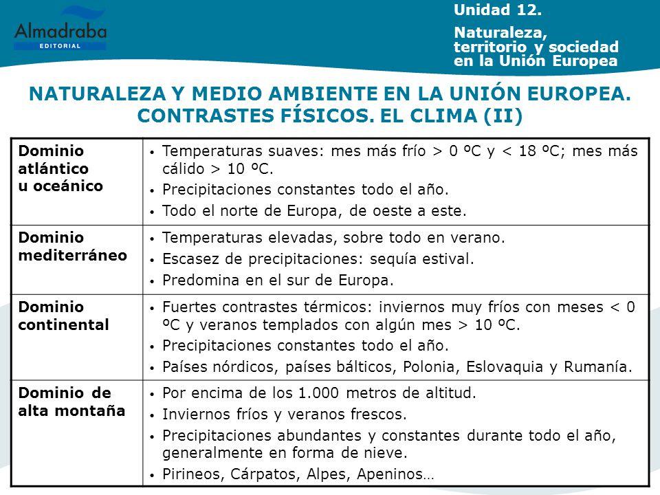 NATURALEZA Y MEDIO AMBIENTE EN LA UNIÓN EUROPEA. CONTRASTES FÍSICOS. EL CLIMA (II) Dominio atlántico u oceánico Temperaturas suaves: mes más frío > 0