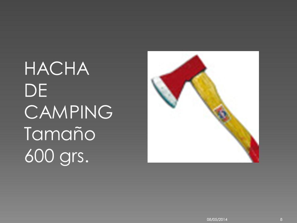 HACHA PARA CAMPING CON MANGO DE MADERA Código: HACHAMAD Marca: N/D Modelo: HACHA MANGO MADERA Hacha de camping con cabo Peso 600gr 08/05/20147