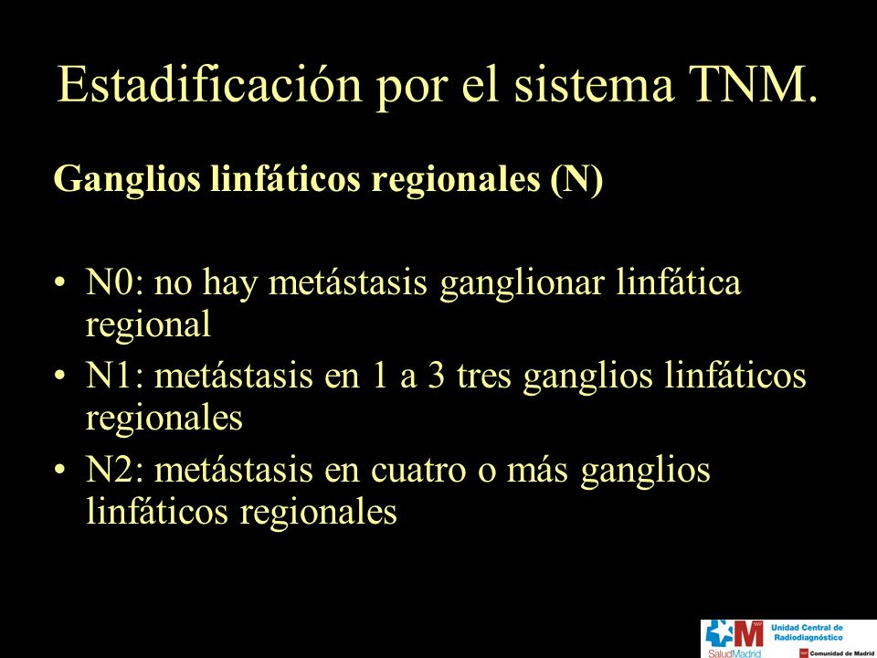Estadificación por el sistema TNM. Ganglios linfáticos regionales (N) N0: no hay metástasis ganglionar linfática regional N1: metástasis en 1 a 3 tres