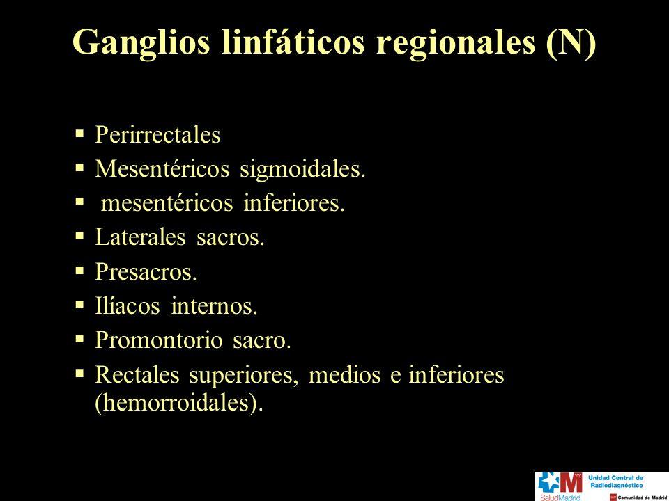 Ganglios linfáticos regionales (N) Perirrectales Mesentéricos sigmoidales. mesentéricos inferiores. Laterales sacros. Presacros. Ilíacos internos. Pro