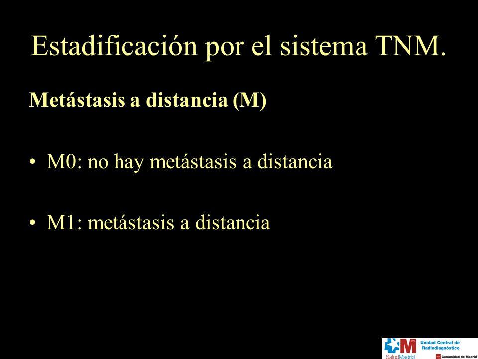 Estadificación por el sistema TNM. Metástasis a distancia (M) M0: no hay metástasis a distancia M1: metástasis a distancia