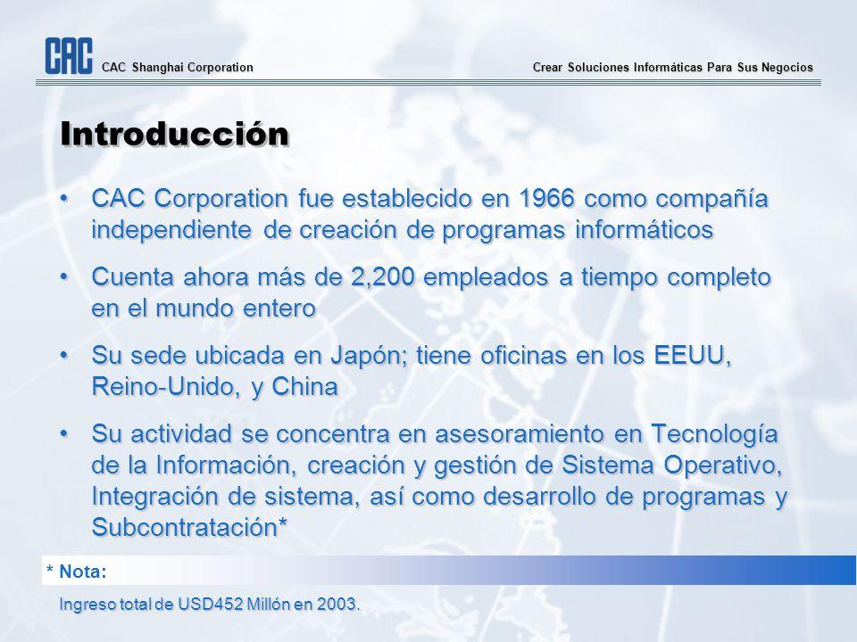 Crear Soluciones Informáticas Para Sus Negocios CAC Shanghai Corporation Introducción CAC Corporation fue establecido en 1966 como compañía independie