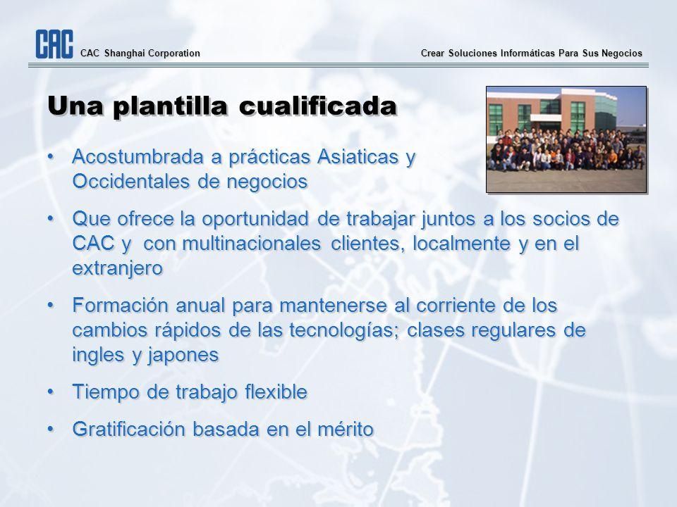 Crear Soluciones Informáticas Para Sus Negocios CAC Shanghai Corporation Una plantilla cualificada Acostumbrada a prácticas Asiaticas y Occidentales d