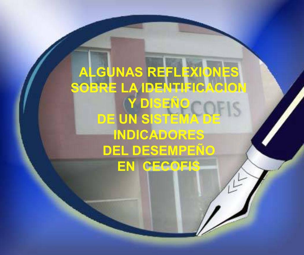 ALGUNAS REFLEXIONES SOBRE LA IDENTIFICACION Y DISEÑO DE UN SISTEMA DE INDICADORES DEL DESEMPEÑO EN CECOFIS