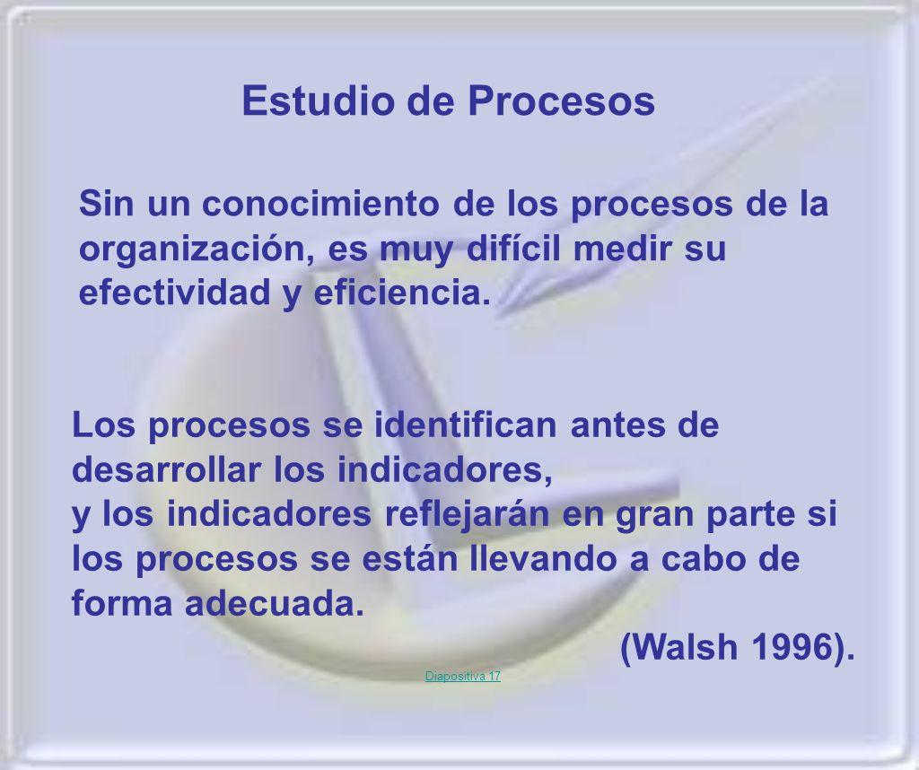 Los procesos se identifican antes de desarrollar los indicadores, y los indicadores reflejarán en gran parte si los procesos se están llevando a cabo