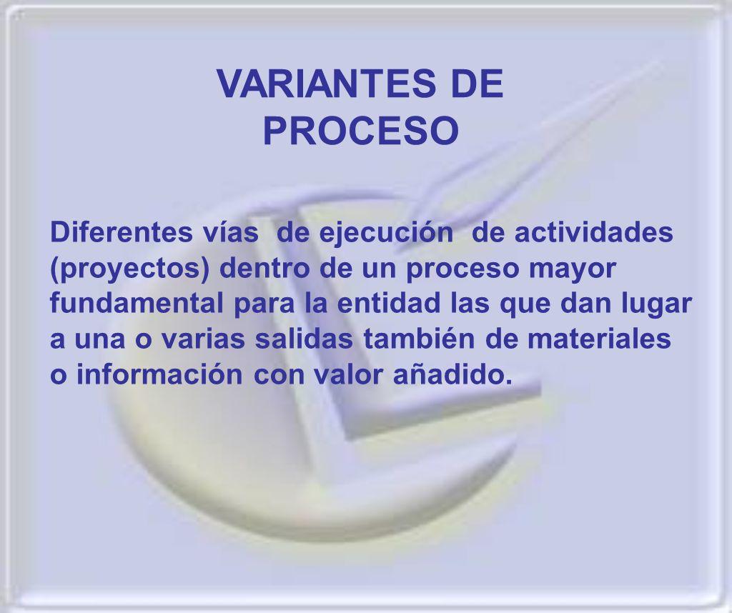 Diferentes vías de ejecución de actividades (proyectos) dentro de un proceso mayor fundamental para la entidad las que dan lugar a una o varias salida
