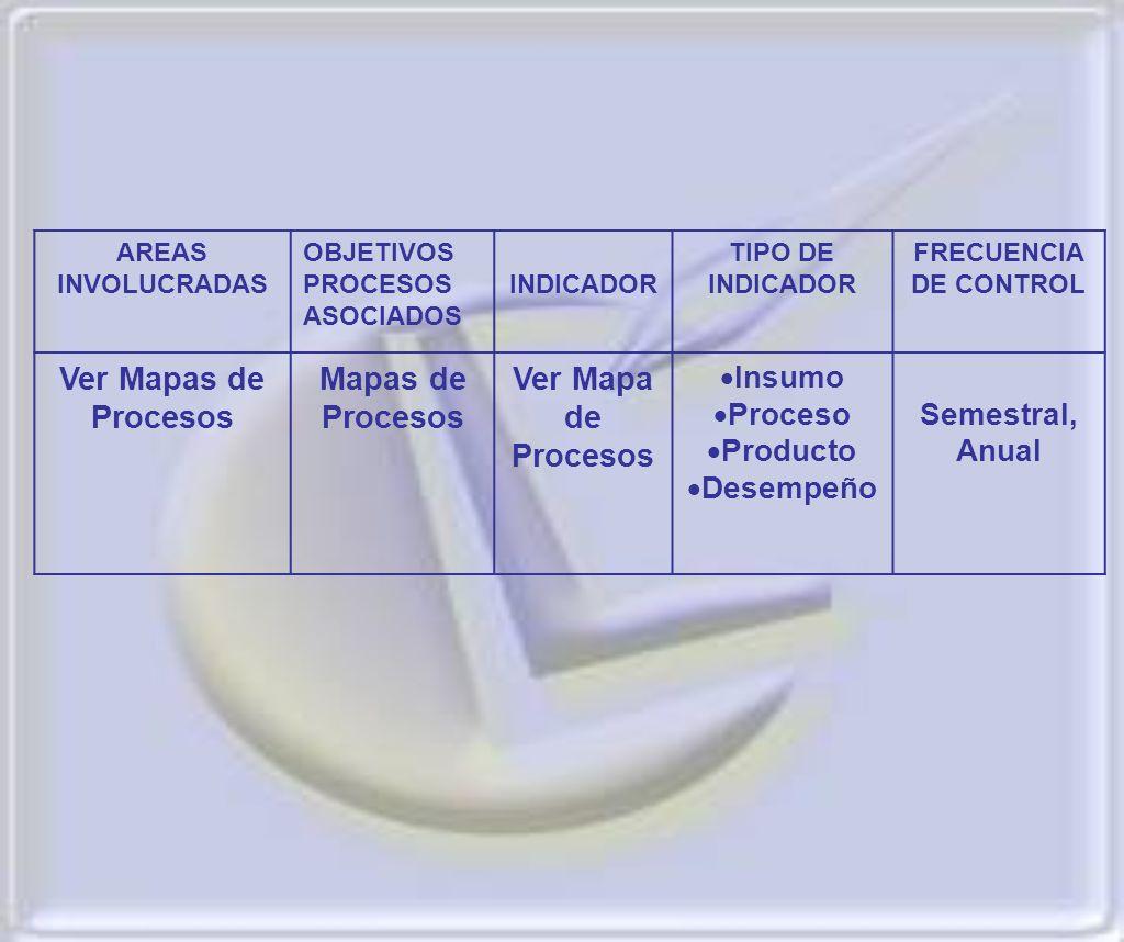 AREAS INVOLUCRADAS OBJETIVOS PROCESOS ASOCIADOS INDICADOR TIPO DE INDICADOR FRECUENCIA DE CONTROL Ver Mapas de Procesos Mapas de Procesos Ver Mapa de