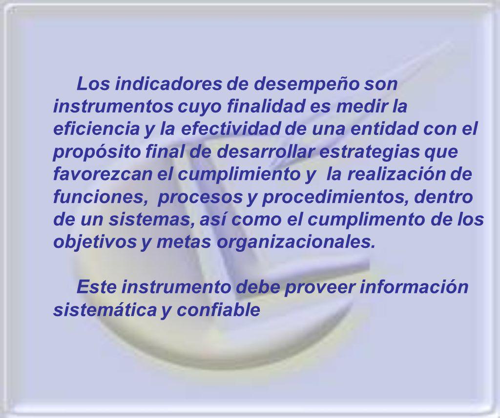 Los indicadores de desempeño son instrumentos cuyo finalidad es medir la eficiencia y la efectividad de una entidad con el propósito final de desarrol