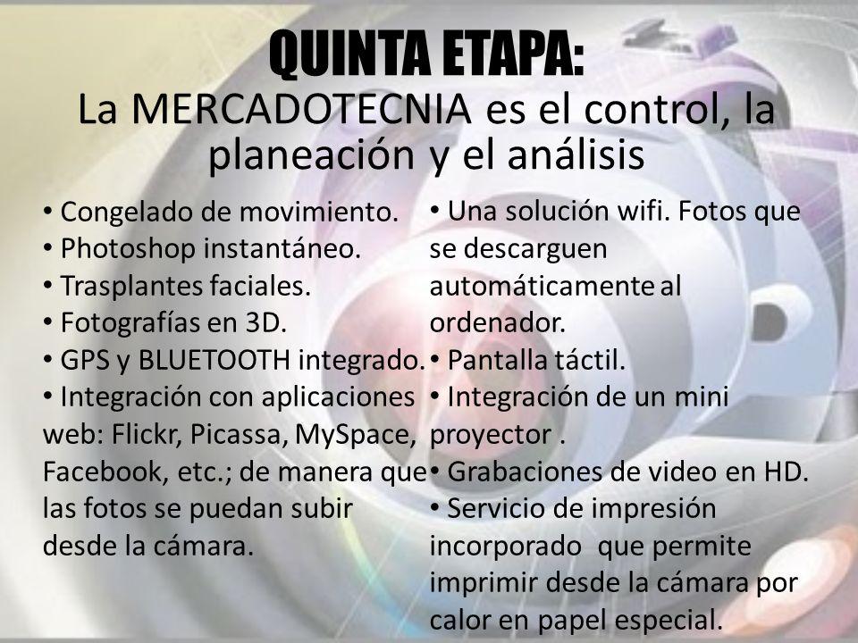 QUINTA ETAPA: La MERCADOTECNIA es el control, la planeación y el análisis Congelado de movimiento. Photoshop instantáneo. Trasplantes faciales. Fotogr