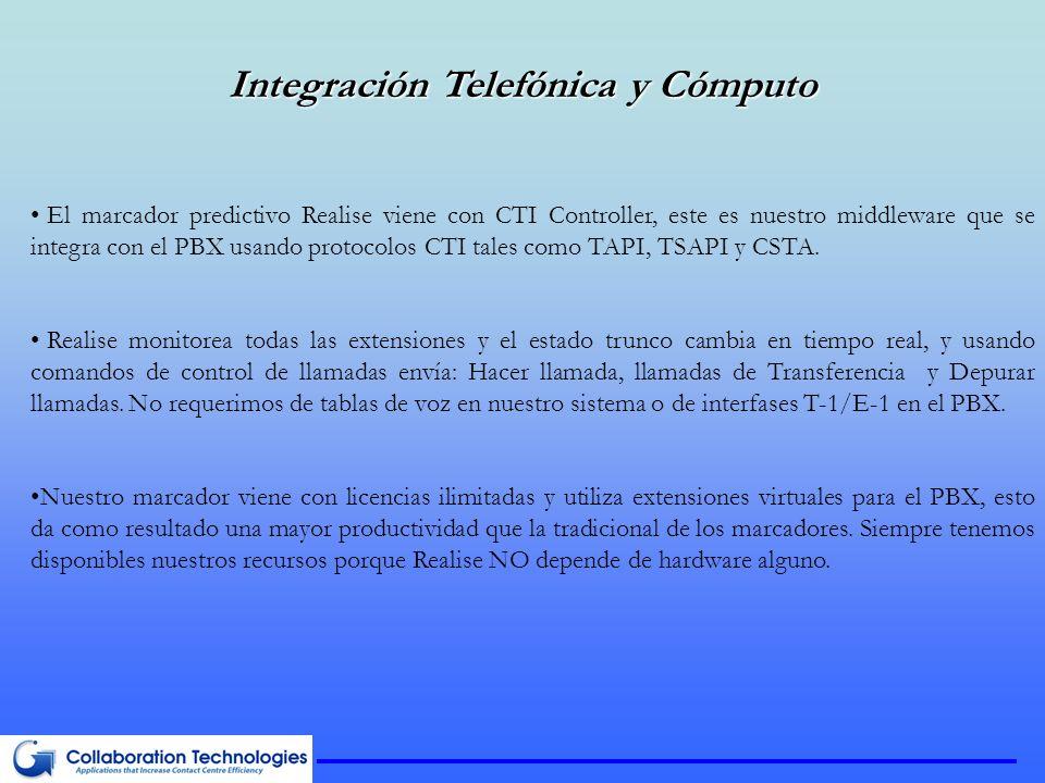 Integración Telefónica y Cómputo El marcador predictivo Realise viene con CTI Controller, este es nuestro middleware que se integra con el PBX usando protocolos CTI tales como TAPI, TSAPI y CSTA.
