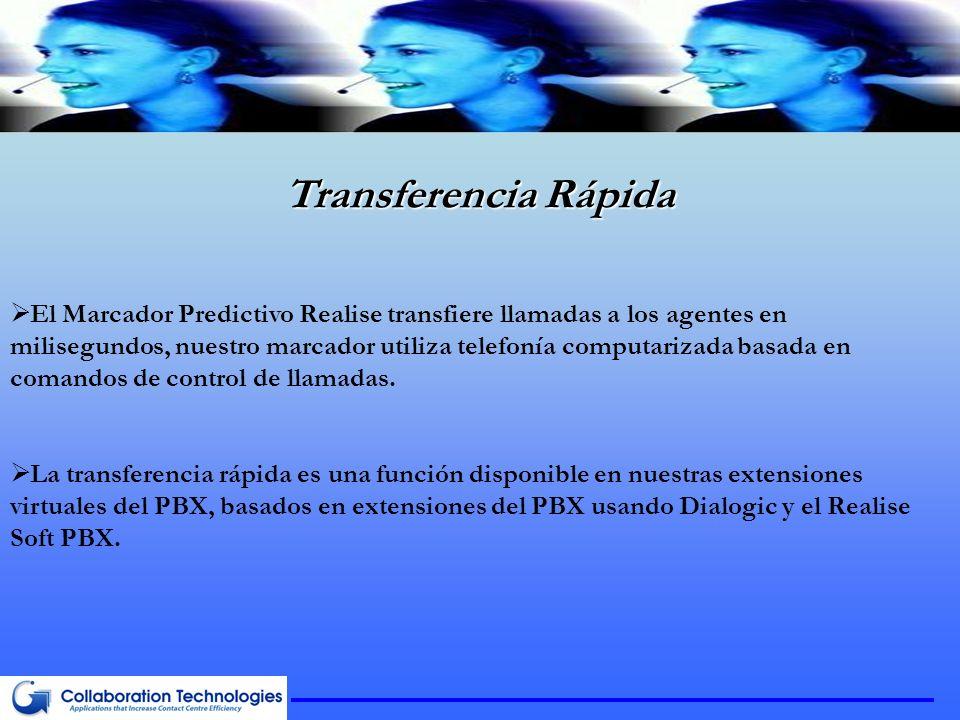 Transferencia Rápida El Marcador Predictivo Realise transfiere llamadas a los agentes en milisegundos, nuestro marcador utiliza telefonía computarizada basada en comandos de control de llamadas.