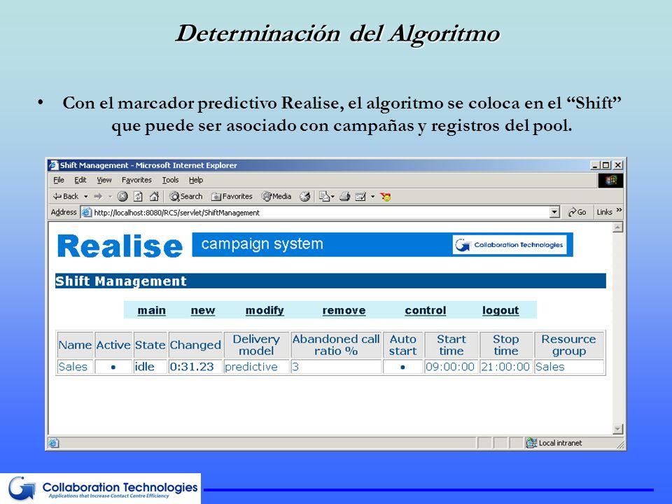 Determinación del Algoritmo Con el marcador predictivo Realise, el algoritmo se coloca en el Shift que puede ser asociado con campañas y registros del pool.