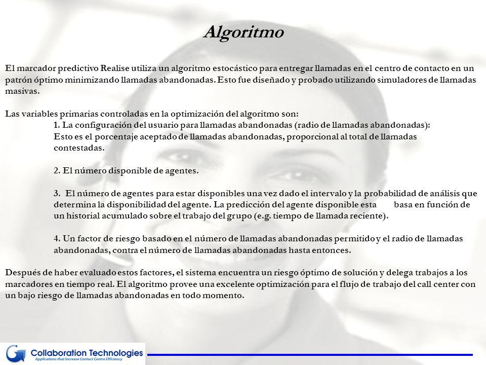 Algoritmo El marcador predictivo Realise utiliza un algoritmo estocástico para entregar llamadas en el centro de contacto en un patrón óptimo minimiza