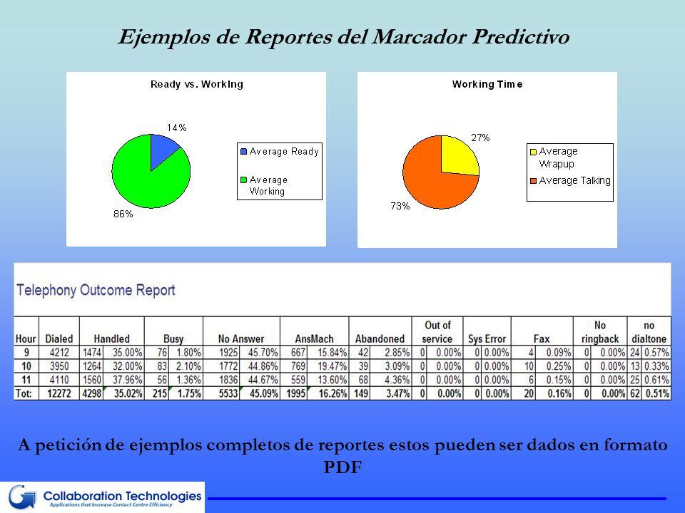 Ejemplos de Reportes del Marcador Predictivo A petición de ejemplos completos de reportes estos pueden ser dados en formato PDF