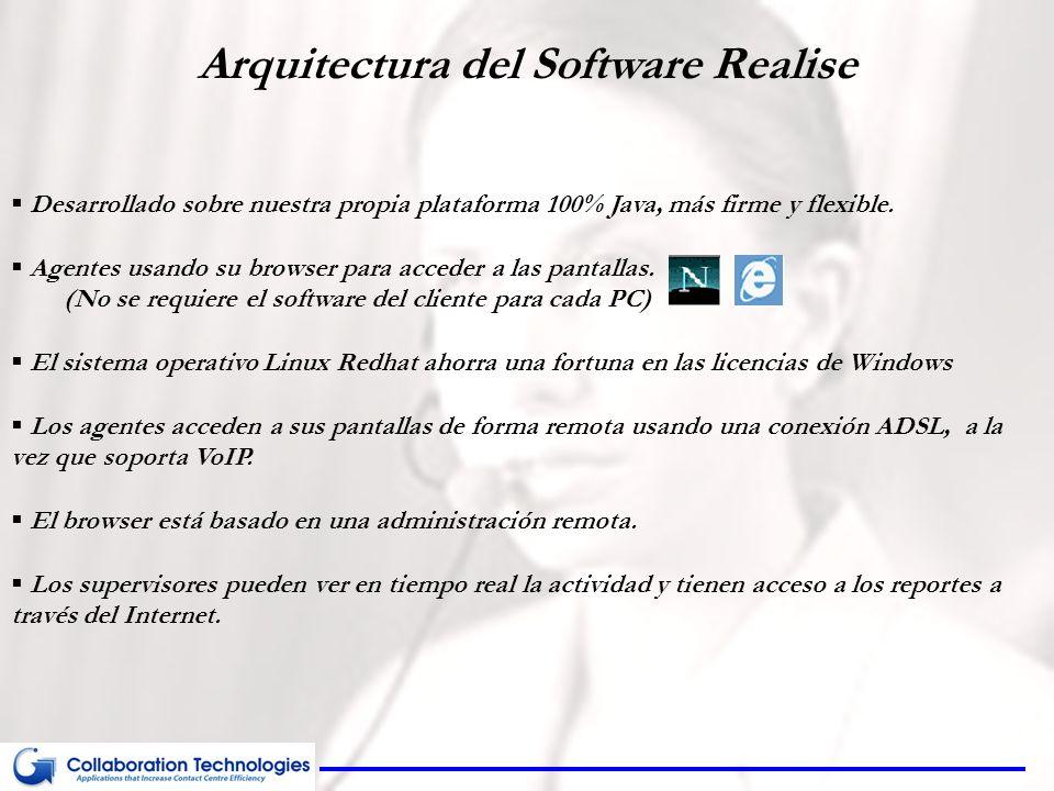 Arquitectura del Software Realise Desarrollado sobre nuestra propia plataforma 100% Java, más firme y flexible. Agentes usando su browser para acceder