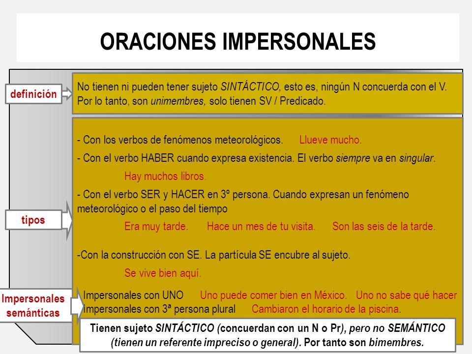 ORACIONES IMPERSONALES definición No tienen ni pueden tener sujeto SINTÁCTICO, esto es, ningún N concuerda con el V.