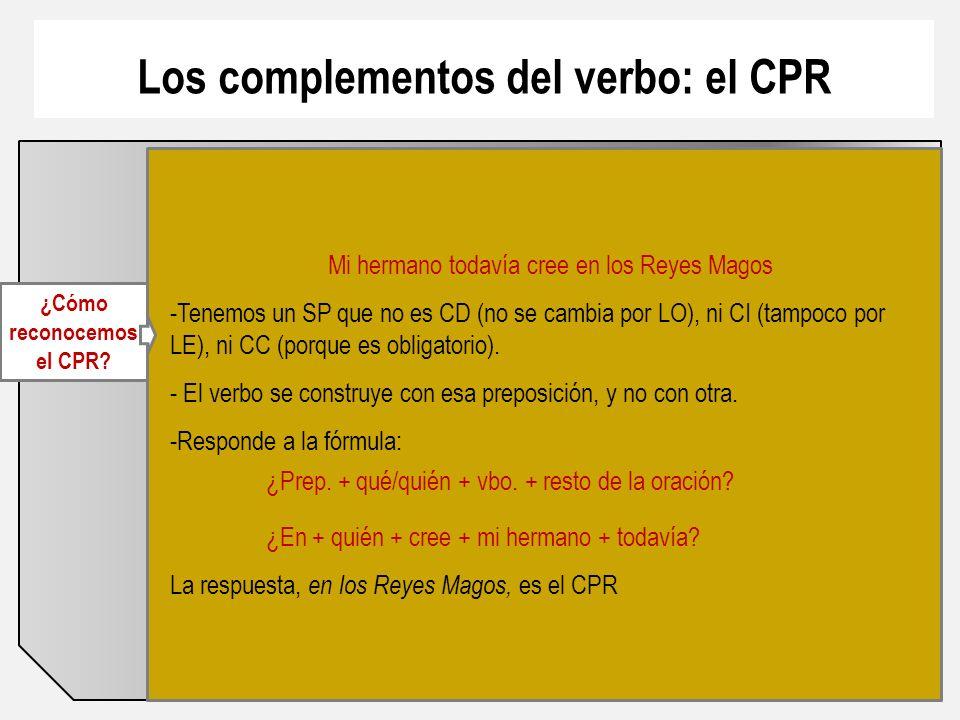 Los complementos del verbo: el CPR ¿Cómo reconocemos el CPR.