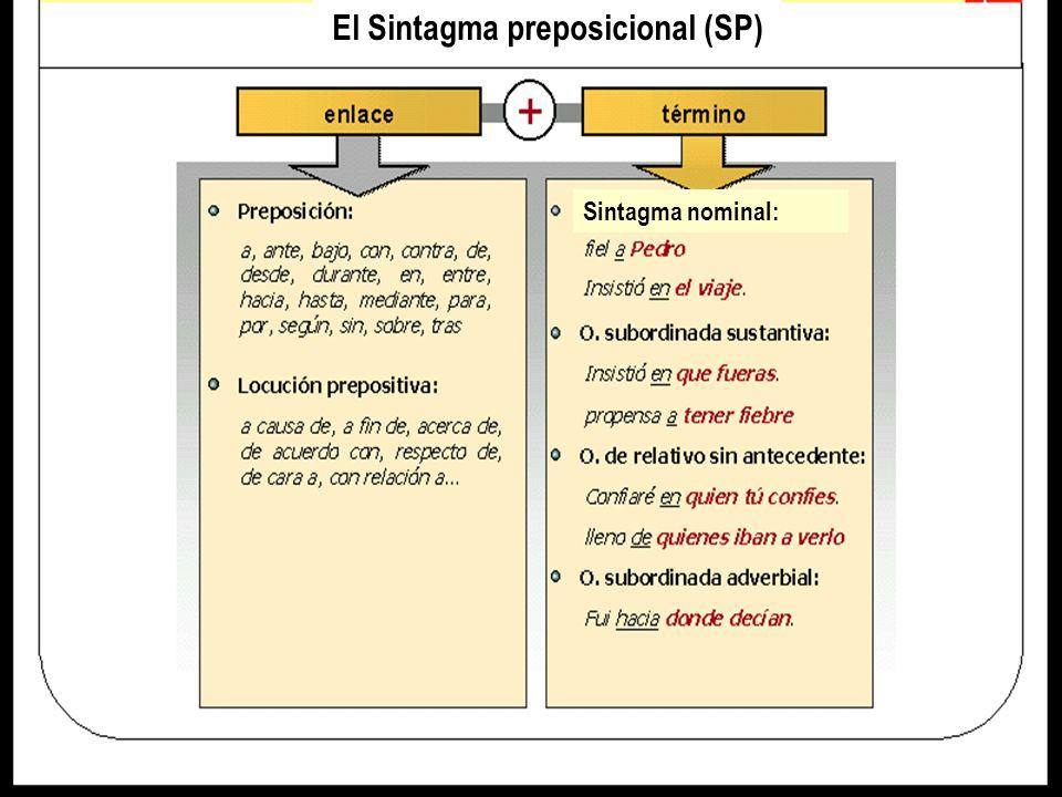 El Sintagma preposicional (SP) Sintagma nominal: