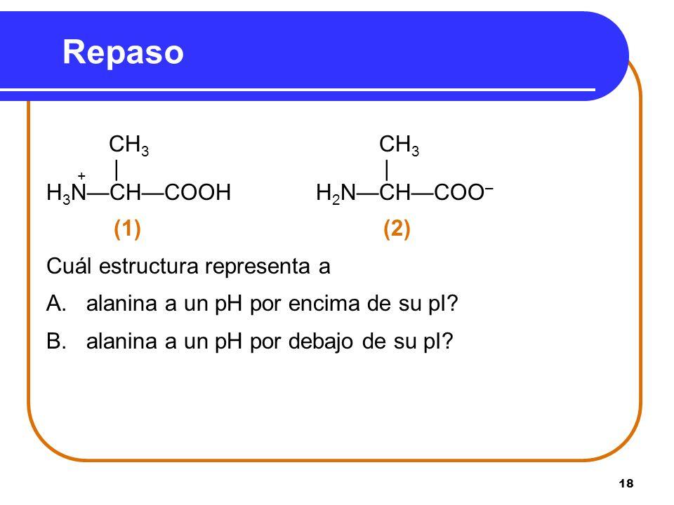 18 CH 3 CH 3 + | | H 3 NCHCOOH H 2 NCHCOO – (1)(2) Cuál estructura representa a A. alanina a un pH por encima de su pI? B. alanina a un pH por debajo