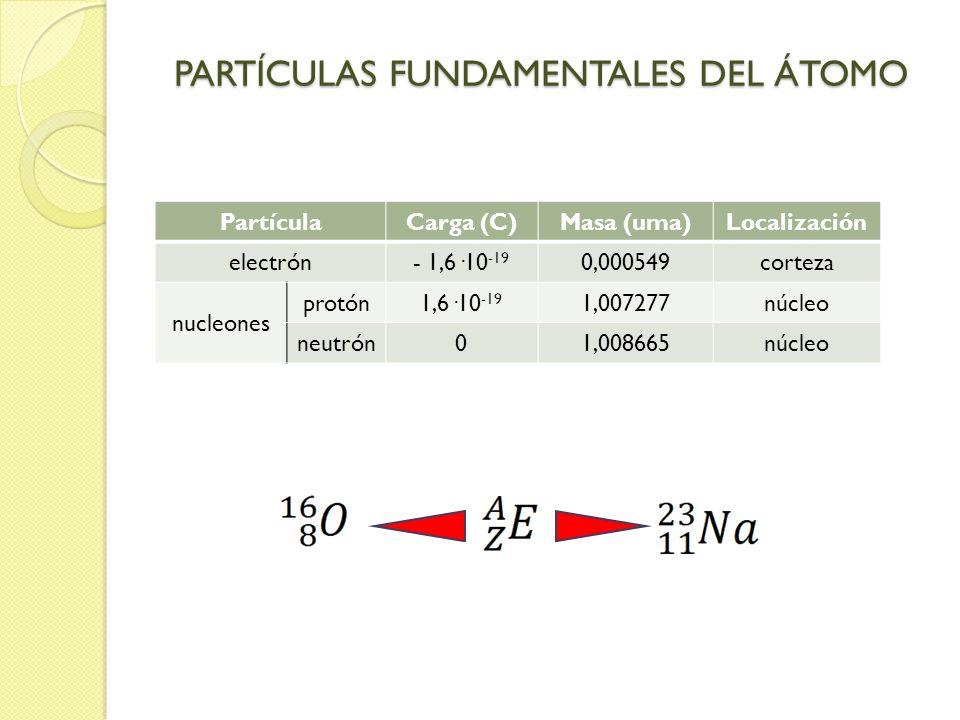 PARTÍCULAS FUNDAMENTALES DEL ÁTOMO PartículaCarga (C)Masa (uma)Localización electrón- 1,6·10 -19 0,000549corteza nucleones protón1,6·10 -19 1,007277nú