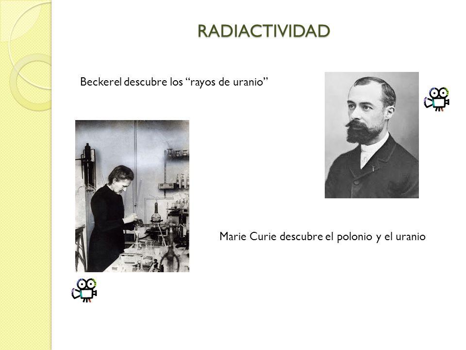 RADIACTIVIDAD Beckerel descubre los rayos de uranio Marie Curie descubre el polonio y el uranio