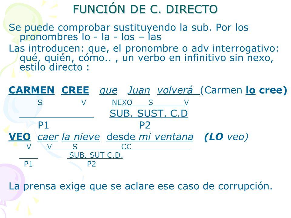 FUNCIÓN DE C. DIRECTO Se puede comprobar sustituyendo la sub. Por los pronombres lo - la - los – las Las introducen: que, el pronombre o adv interroga