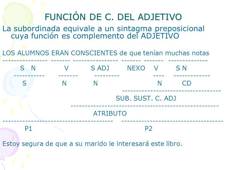 FUNCIÓN DE C. DEL ADJETIVO La subordinada equivale a un sintagma preposicional cuya función es complemento del ADJETIVO LOS ALUMNOS ERAN CONSCIENTES d