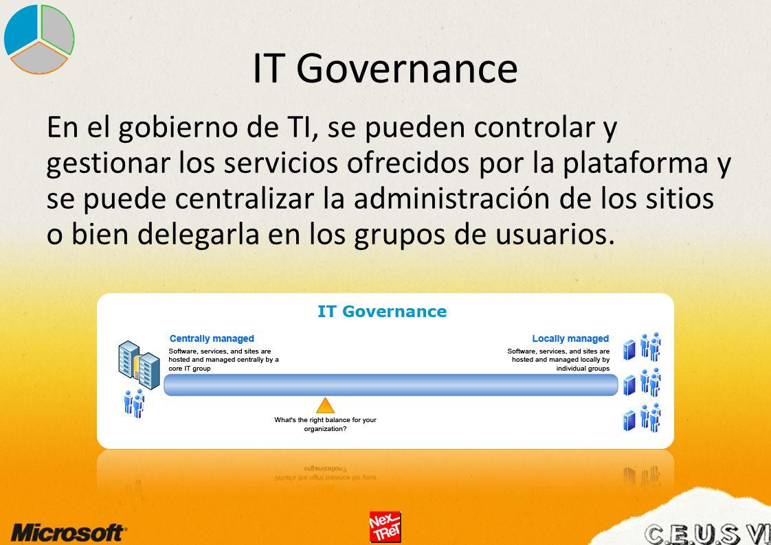 IT Governance En el gobierno de TI, se pueden controlar y gestionar los servicios ofrecidos por la plataforma y se puede centralizar la administración de los sitios o bien delegarla en los grupos de usuarios.