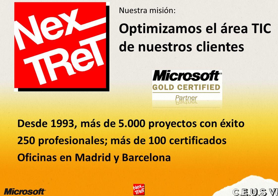 Nuestra misión: Optimizamos el área TIC de nuestros clientes Desde 1993, más de 5.000 proyectos con éxito 250 profesionales; más de 100 certificados Oficinas en Madrid y Barcelona