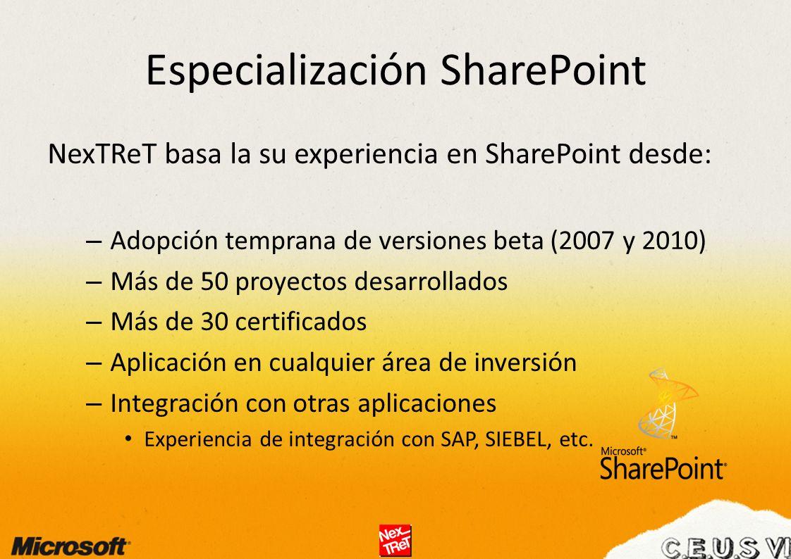 Especialización SharePoint NexTReT basa la su experiencia en SharePoint desde: – Adopción temprana de versiones beta (2007 y 2010) – Más de 50 proyectos desarrollados – Más de 30 certificados – Aplicación en cualquier área de inversión – Integración con otras aplicaciones Experiencia de integración con SAP, SIEBEL, etc.