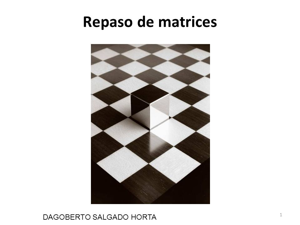 1 Repaso de matrices DAGOBERTO SALGADO HORTA