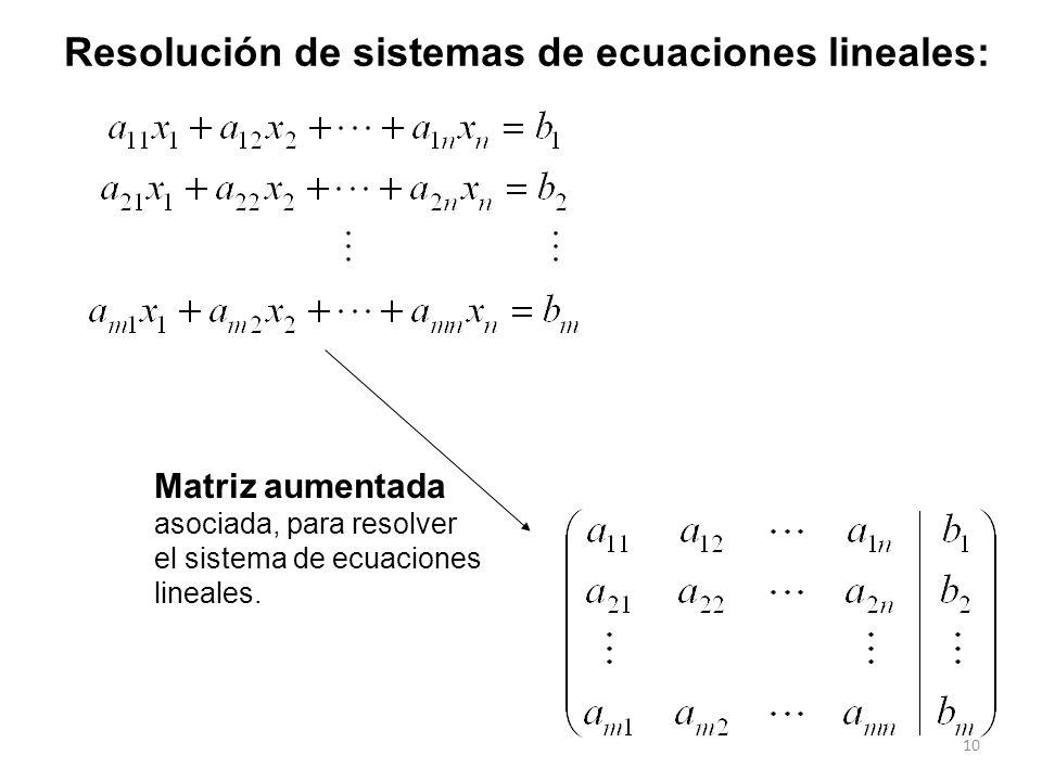 10 Matriz aumentada asociada, para resolver el sistema de ecuaciones lineales. Resolución de sistemas de ecuaciones lineales: