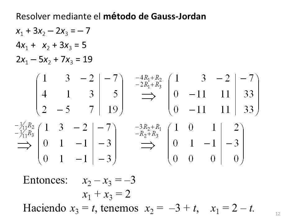 12 Resolver mediante el m é todo de Gauss-Jordan x 1 + 3x 2 – 2x 3 = – 7 4x 1 + x 2 + 3x 3 = 5 2x 1 – 5x 2 + 7x 3 = 19 Entonces:x 2 – x 3 = –3 x 1 + x