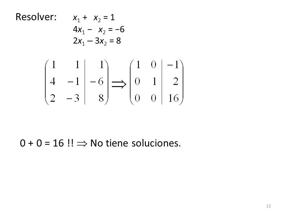 13 Resolver: x 1 + x 2 = 1 4x 1 x 2 = 6 2x 1 – 3x 2 = 8 0 + 0 = 16 !! No tiene soluciones.