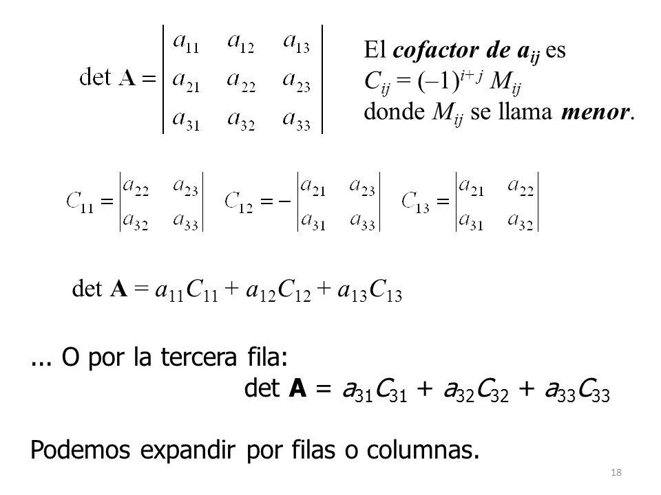 18 det A = a 11 C 11 + a 12 C 12 + a 13 C 13 El cofactor de a ij es C ij = (–1) i+ j M ij donde M ij se llama menor.... O por la tercera fila: det A =