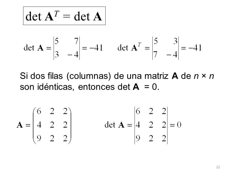 22 det A T = det A Si dos filas (columnas) de una matriz A de n × n son idénticas, entonces det A = 0.