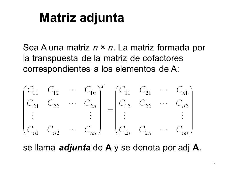 32 Sea A una matriz n × n. La matriz formada por la transpuesta de la matriz de cofactores correspondientes a los elementos de A: se llama adjunta de