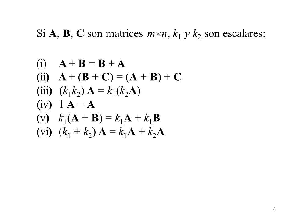 4 Si A, B, C son matrices m n, k 1 y k 2 son escalares: (i) A + B = B + A (ii) A + (B + C) = (A + B) + C (iii) (k 1 k 2 ) A = k 1 (k 2 A) (iv) 1 A = A