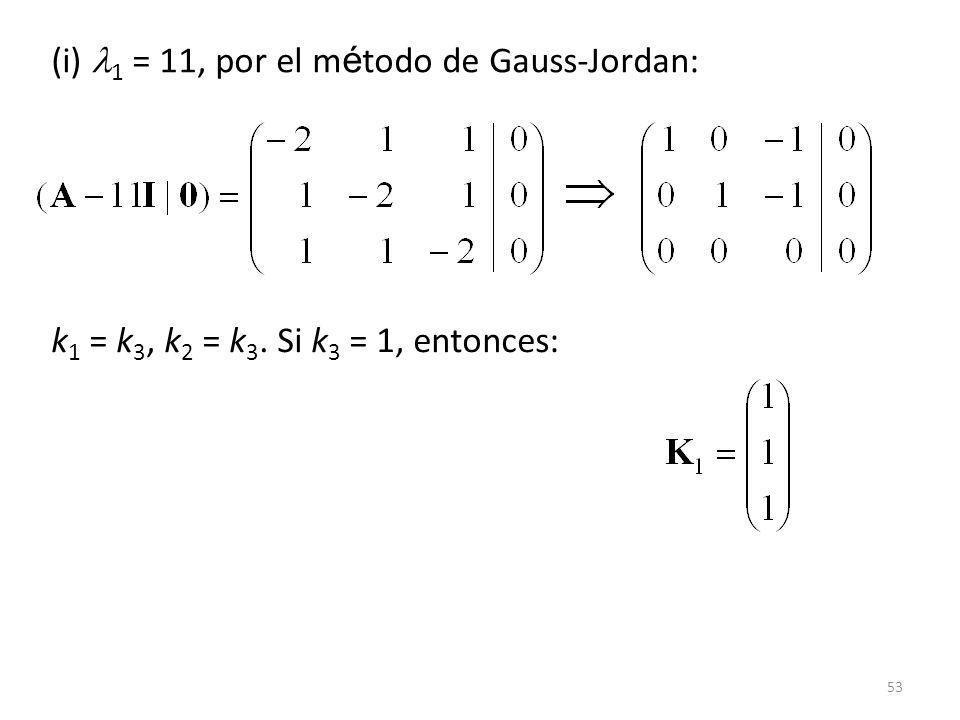 53 (i) 1 = 11, por el m é todo de Gauss-Jordan: k 1 = k 3, k 2 = k 3. Si k 3 = 1, entonces: