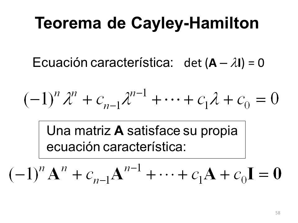 58 Teorema de Cayley-Hamilton Una matriz A satisface su propia ecuación característica: Ecuación característica: det (A – I) = 0