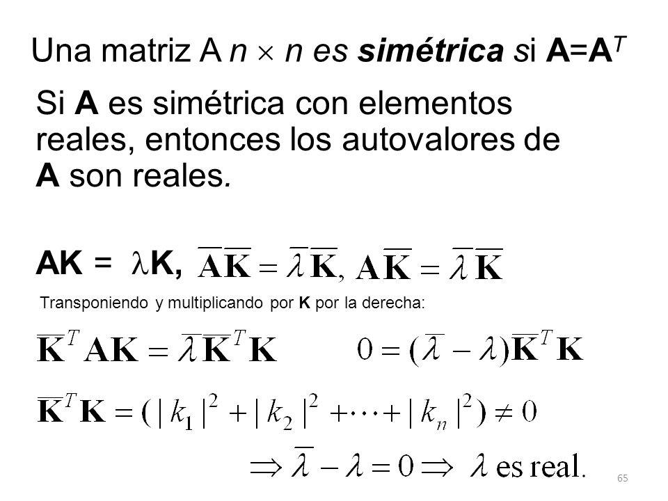 65 Una matriz A n n es simétrica si A=A T Si A es simétrica con elementos reales, entonces los autovalores de A son reales. AK = K, Transponiendo y mu