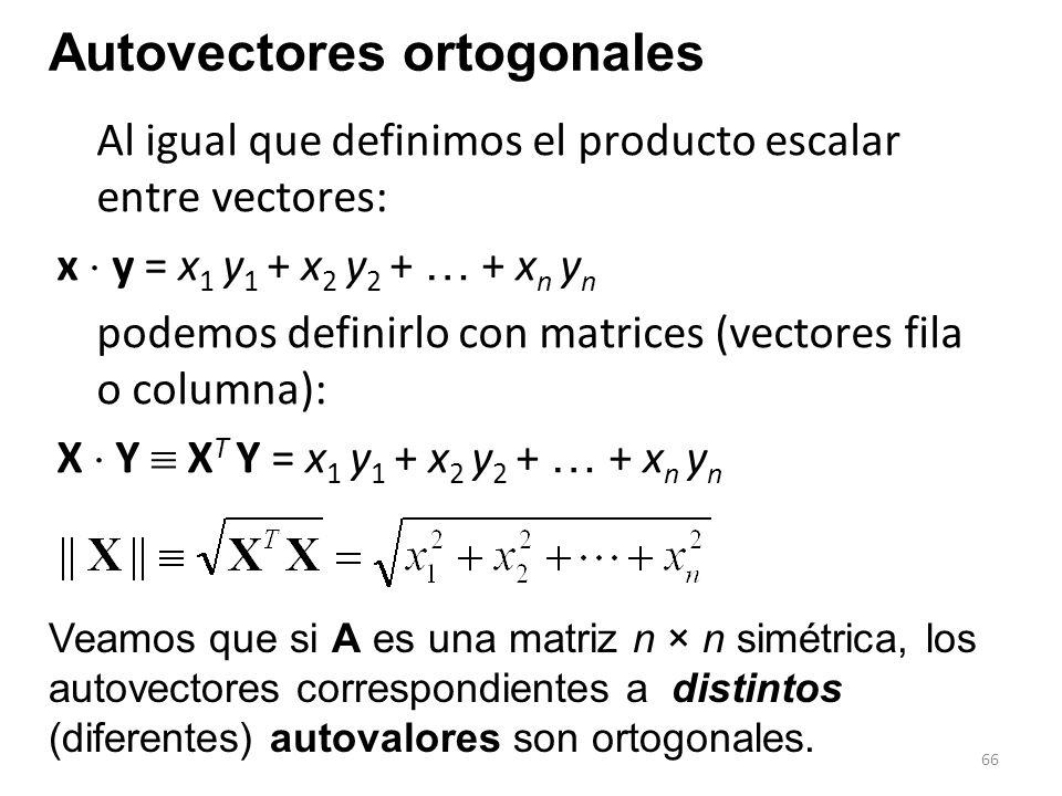 66 Al igual que definimos el producto escalar entre vectores: x y = x 1 y 1 + x 2 y 2 + … + x n y n podemos definirlo con matrices (vectores fila o co