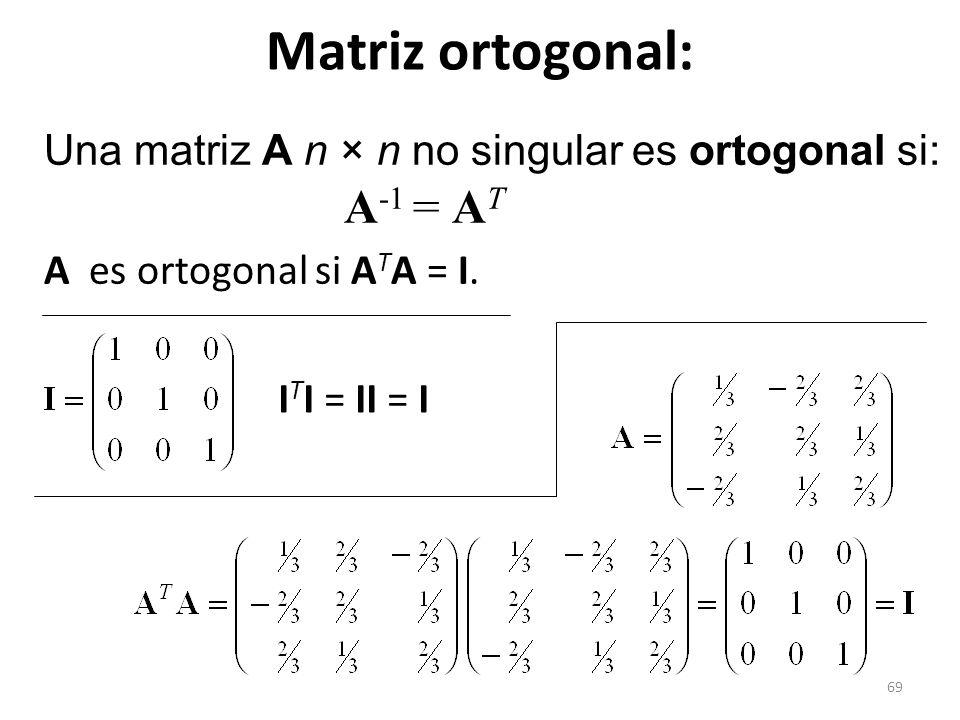 69 Matriz ortogonal: Una matriz A n × n no singular es ortogonal si: A -1 = A T A es ortogonal si A T A = I. I T I = II = I