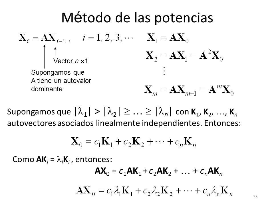 75 M é todo de las potencias Supongamos que A tiene un autovalor dominante. Vector n 1 Supongamos que | 1 | > | 2 | … | n | con K 1, K 2, …, K n autov