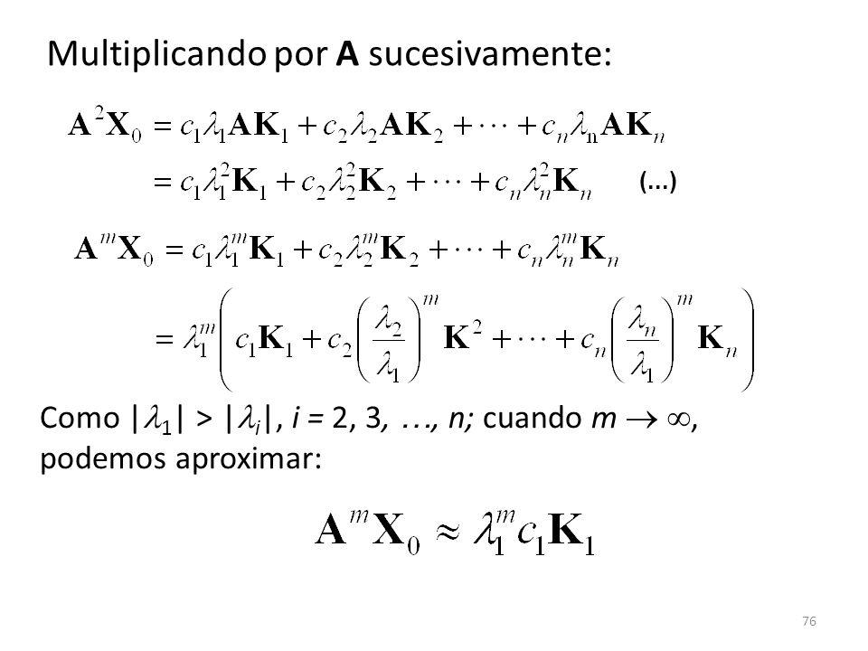 76 Multiplicando por A sucesivamente: Como | 1 | > | i |, i = 2, 3, …, n; cuando m, podemos aproximar: (...)