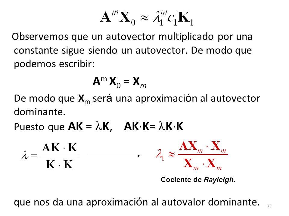 77 Observemos que un autovector multiplicado por una constante sigue siendo un autovector. De modo que podemos escribir: A m X 0 = X m De modo que X m