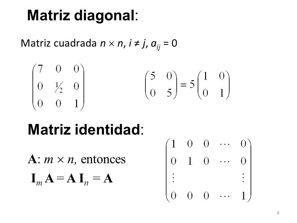 8 Matriz cuadrada n n, i j, a ij = 0 Matriz diagonal: A: m n, entonces I m A = A I n = A Matriz identidad:
